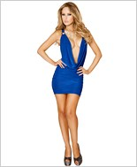 Cowl Neck Mini Dress with Scrunched Skirt RC-3134-Royal