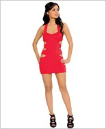 Mini Dress with Multi Cut out Side Details  RC-3140-Red