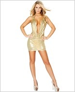 Cowl Neck Mini Dress with Scrunched Skirt RC-3141-Gold