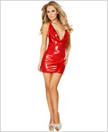Shimmered Cowl Neck Mini Dress  RC-3143-Red