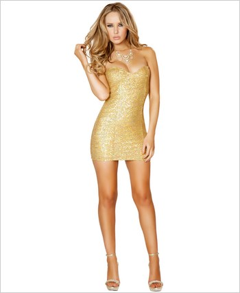 Sequin Mini Dress  RC-3153-Gold