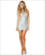 Sequin Mini Dress  RC-3153-Silver