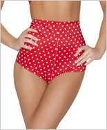 Pinup Style High-Waisted Shorts  RC-SH3090-Red/White