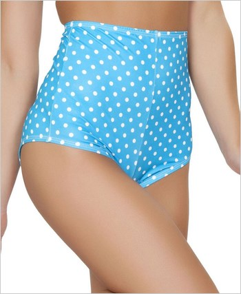 Pinup Style High-Waisted Shorts  RC-SH3090-Turquoise/White