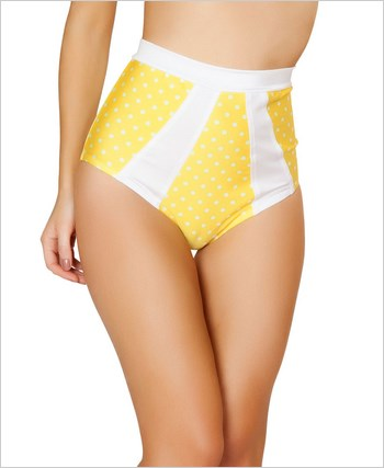 High-Waisted Pinup Style Shorts  RC-SH3120-Yellow/White