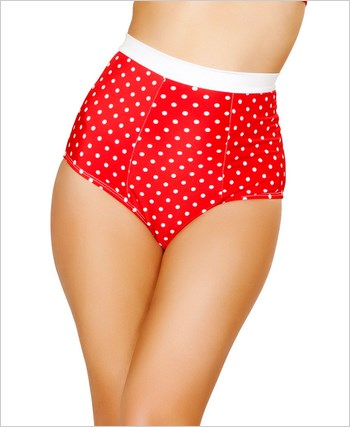 Pinup Style High-Waisted Banded Shorts  RC-SH3121-Red/White