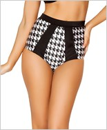 Two-Tone High-Waisted Banded Shorts  RC-SH3123-Houndstooth
