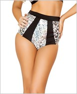 Two-Tone High-Waisted Banded Shorts  RC-SH3123-Silver Leopard