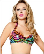 Halter Top  RC-T3059-Rainbow Zebra