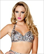 Halter Top  RC-T3059-Silver Leopard