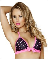 Tie Front Halter Top  RC-T3120-Black/Pink