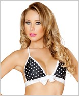 Tie Front Halter Top  RC-T3120-Black/White
