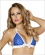 Tie Front Halter Top  RC-T3120-Blue/White