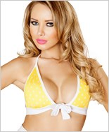 Tie Front Halter Top  RC-T3120-Yellow/White