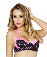 Pinup Style Halter Bra Top  RC-T3121-Black/Pink