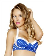 Pinup Style Halter Bra Top  RC-T3121-Blue/White