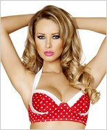 Pinup Style Halter Bra Top  RC-T3121-Red/White