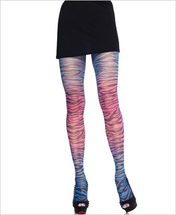 Blue And Pink Zebra Print Pantyhose La-7279
