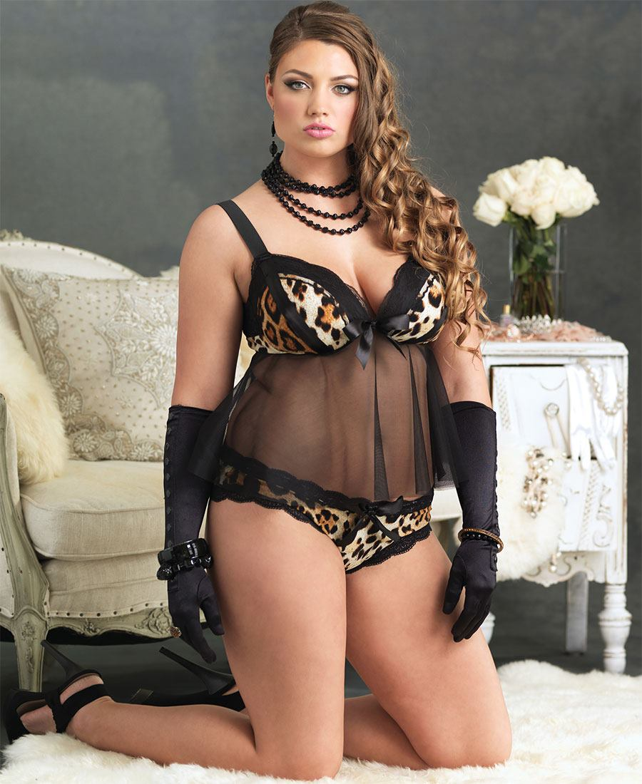 081ff40aca Plus Size Leopard Babydoll And Panty Set La-81360Q
