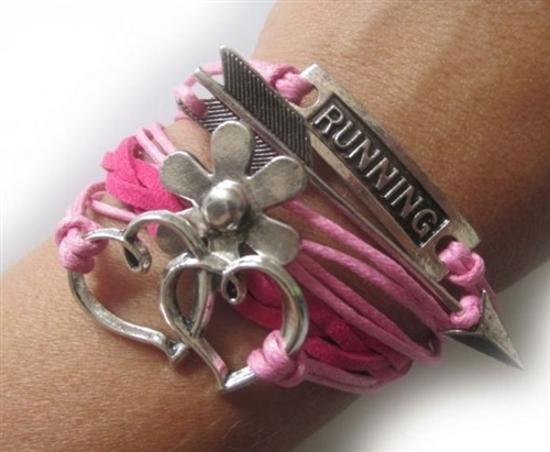 Running bracelet with hearts and flowers