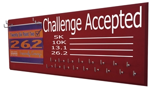 chalk board running medal holder and race bib hanger challenge accepted