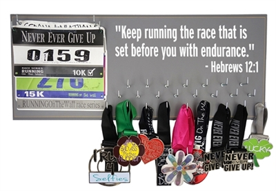 "Race bibs and medals hanger - ""Keep running the race that is set before us with endurance."" -Hebrews 12:1"