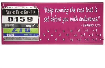 "Race bibs and medals display - ""Keep running the race that is set before us with endurance."" -Hebrews 12:1"