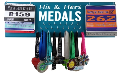HIS & HERS MEDALS HOLDER WITH DOUBLE BIBS DISPLAY
