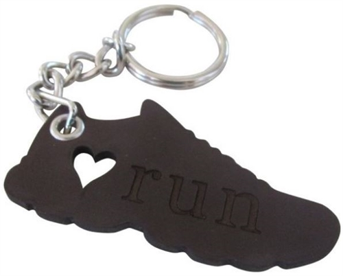 running shoe heart key chain
