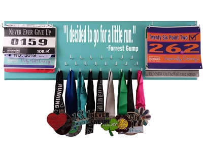 "Forrest Gump ""I decided to go for a little run."" Race bibs & medals display"