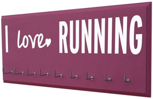 Motivational quotes on running medals holder - I love RUNNING