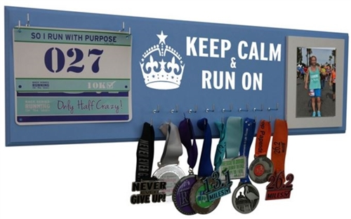 race bibs and medals display