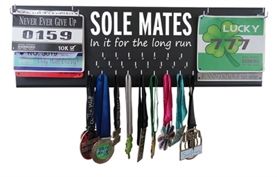 SOLE MATES - IN IT FOR THE LONG RUN double race bibs and medals holder