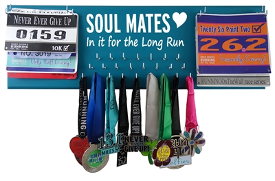 SOUL MATES Heart- IN IT FOR THE LONG RUN double race bibs and medals holder