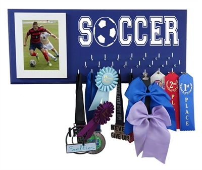 Soccer medals display ribbons awards holder hanger ball