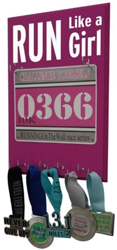 Run like a girl race bib holder