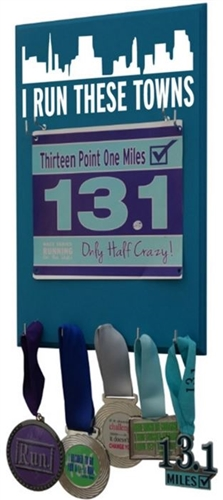 Use a medal holder to display your race bibs and running medals