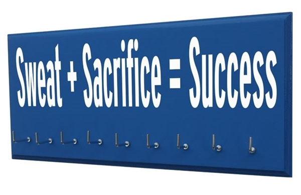 Motivational Running Quotes On Medals Holder Sweat And Sacrifice