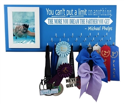 Swimming ribbons display - Micheal Phelps Quote