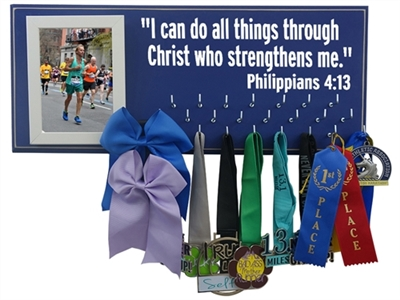 Race bibs and medals hanger - Philippians 4:13 - I can do all things through Christ who strengthens me.