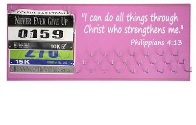 Race bibs and medals holder - Philippians 4:13 - I can do all things through Christ who strengthens me.