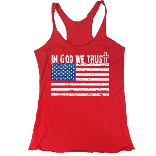 In God We Trust Shirt - Everyday American Flag Tank - for All Patriots who Love Our Country - America First