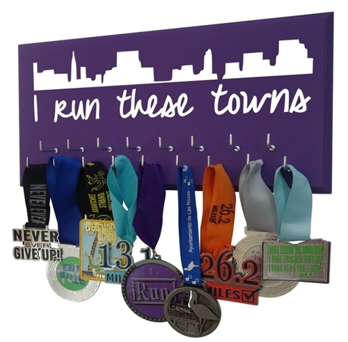 Women city skyline  medals display rack