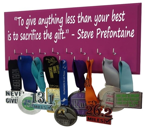 Prefontain quotes on medals hanger
