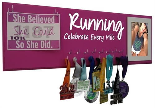 Motivational running medals holder - Celebrate Every Mile