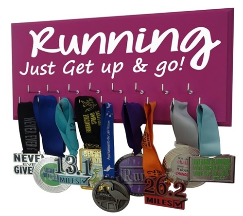 Motivational running medals hanger Just get up and go