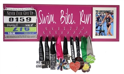 Triathlons medals holder for women  Swim Bike Run