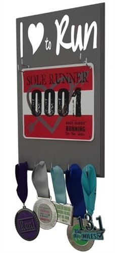 I love to run race bibs display rack