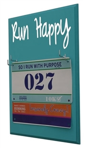 display for race bibs Run Happy
