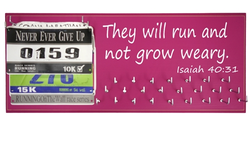 they will run and not grow weary bibs and medal holder